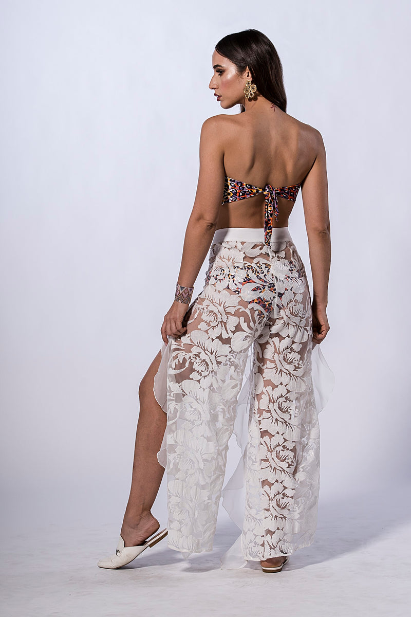 Sheer Brocade White Pants