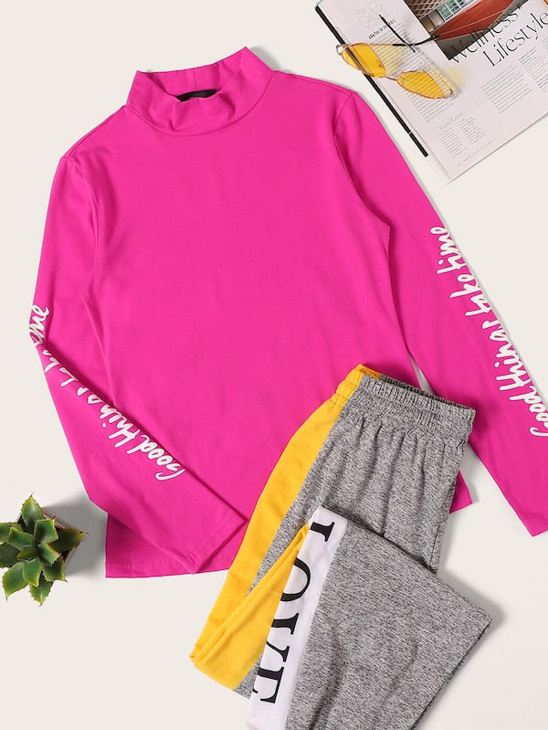 Pink Graphic High Neck Top