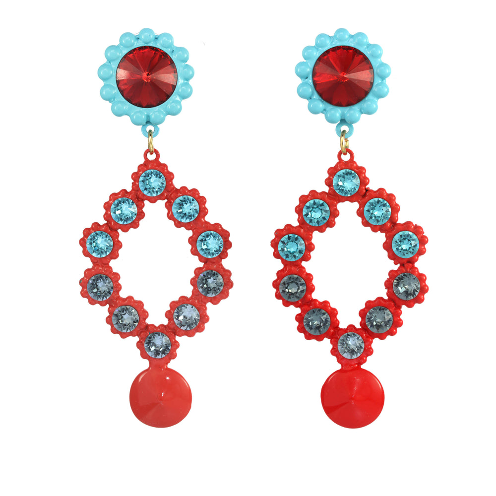 Turquoise And Red Painted Pewter Earrings
