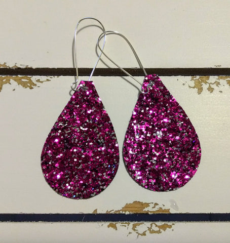 """ Rock N Royalty "" Chunky Glitter 2 1/4"" Teardrop Canvas Earrings!"