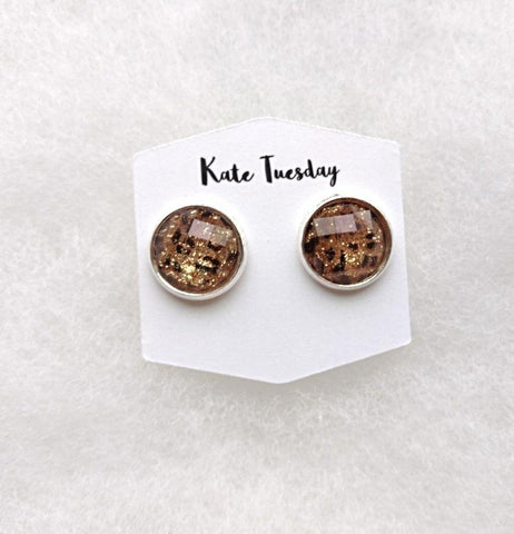 Cheetah/Gold Flake  Earrings