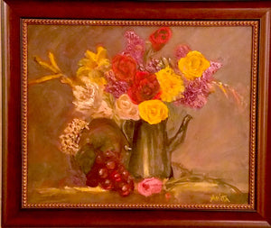 Flowers in a Pewter Teapot, Oil Painting