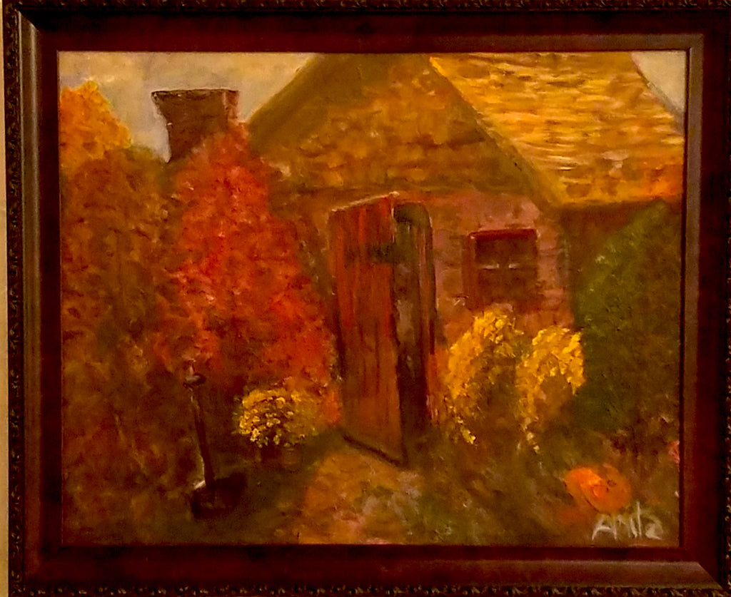 Landscaper's Hut Oil Painting