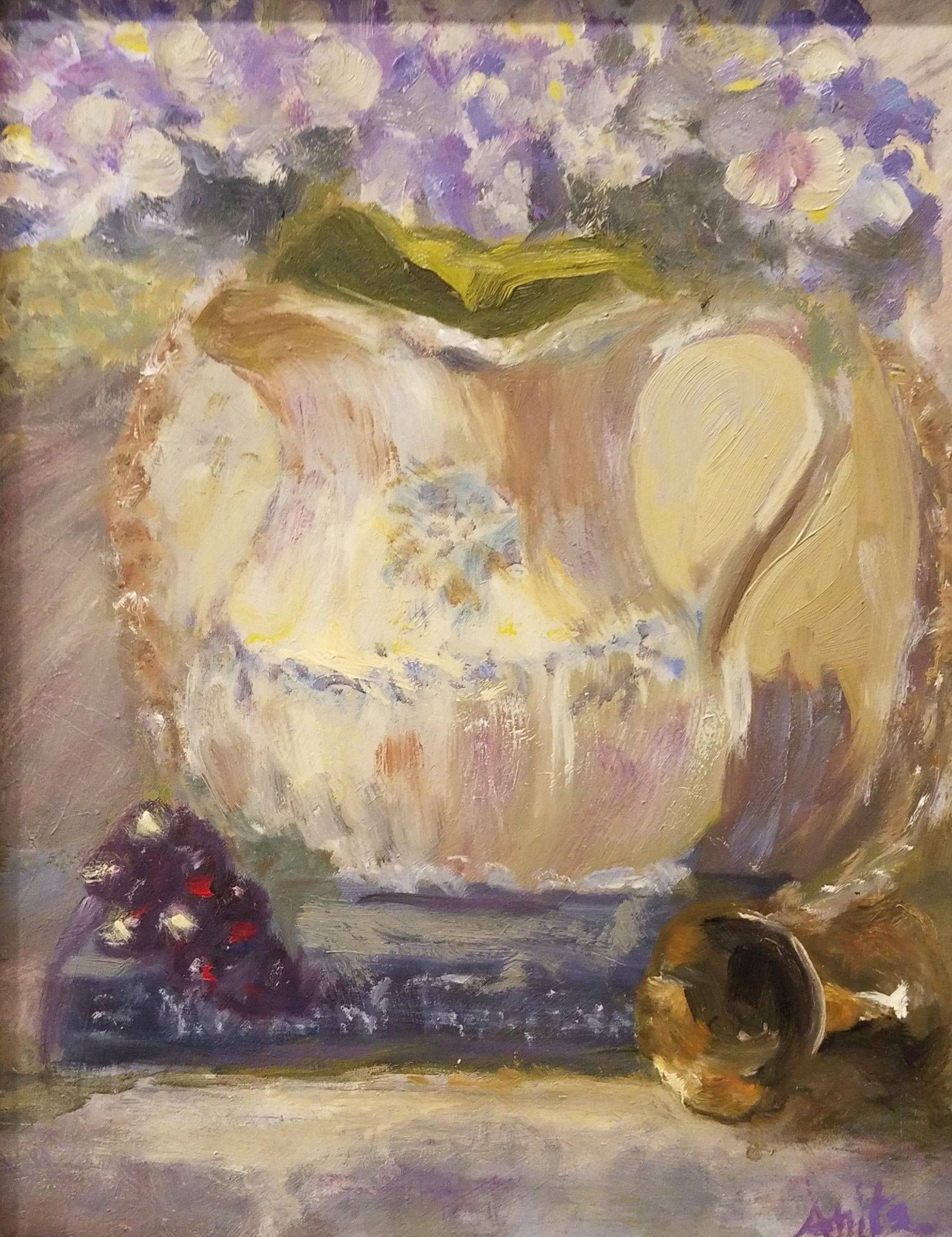 Pitcher of Hydrangea, Oil Painting