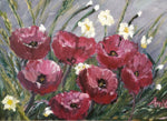 Poppies in a Storm, Oil Painting