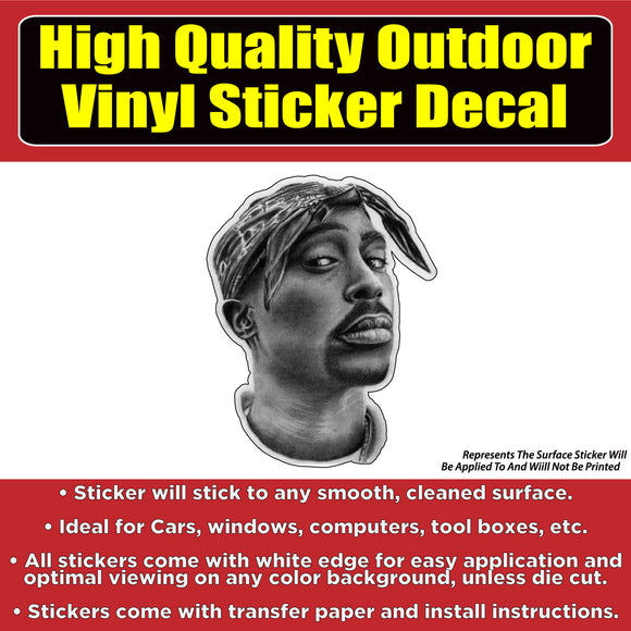 2Pac Tupac Shakur Death Row Records Car Truck Vinyl Bumper Sticker Decal
