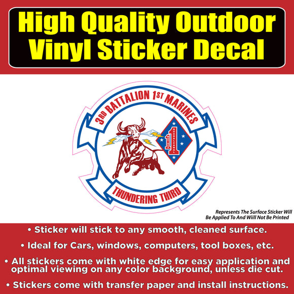 3rd Battalion 1st Marine Corps Vinyl Car Window Laptop Bumper Sticker Decal