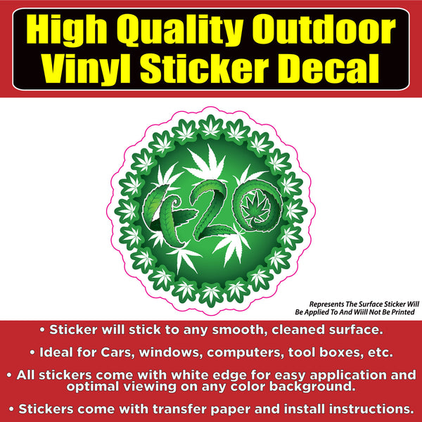 420 Circle Pot Leaf Vinyl Car Window Laptop Bumper Sticker Decal