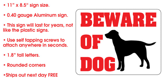 Warning Sign - BEWARE OF DOG Metal Sign for Fence Gate Door - Colorado Sticker