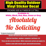 Absolutely No Soliciting -Vinyl Business Home Window Door Sticker decal - Colorado Sticker