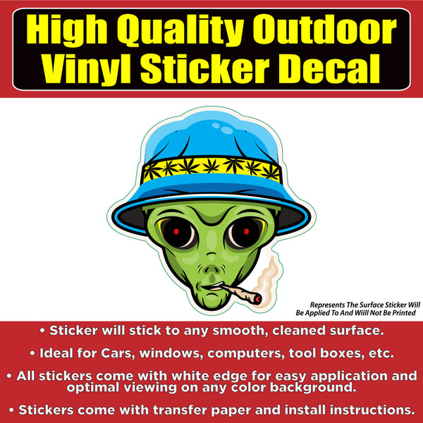 Smoking Alien Vinyl Car Window Laptop Bumper Sticker Decal