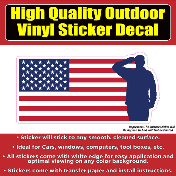 Soldier Salute Flag Vinyl Car Window Laptop Bumper Sticker Decal - Colorado Sticker