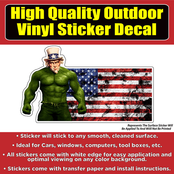 American Flag Hulk Vinyl Car Window Laptop Bumper Sticker Decal