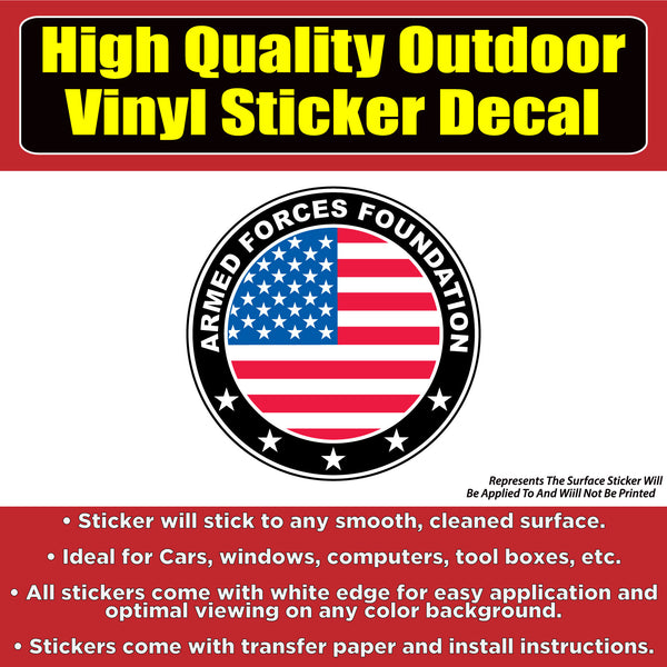 United States Armed Forces Foundation Vinyl Car Window Laptop Bumper Sticker Decal