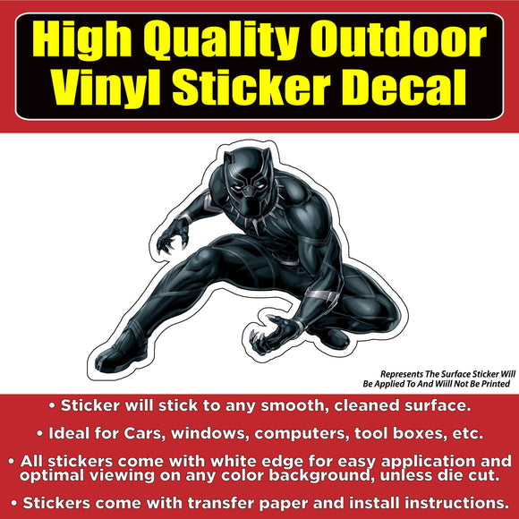 Black Panther Crouching Vinyl Car Window Bumper Sticker Decal