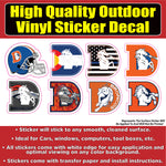 Denver Broncos D Variety Sticker Pack Vinyl Car Window Laptop Bumper Sticker Decal