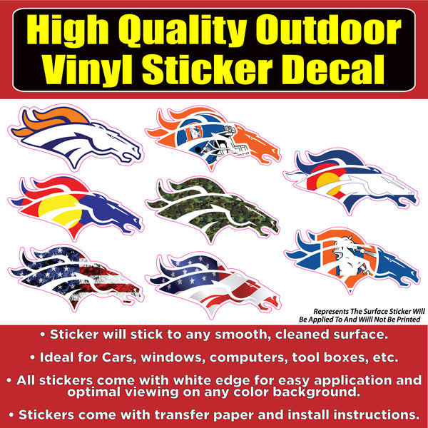 Denver Broncos Horse head Sticker Pack Vinyl Car Window Laptop Bumper Sticker Decal