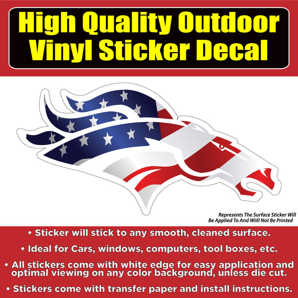 Denver Broncos Head American Flag Vinyl Car Window Laptop Bumper Sticker Decal