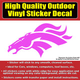 Denver Broncos Head Pink Vinyl Car Window Bumper Sticker