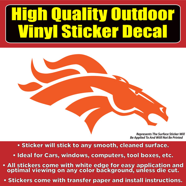 Denver Broncos Solid Orange Design, Car Window Vinyl Decal Sticker