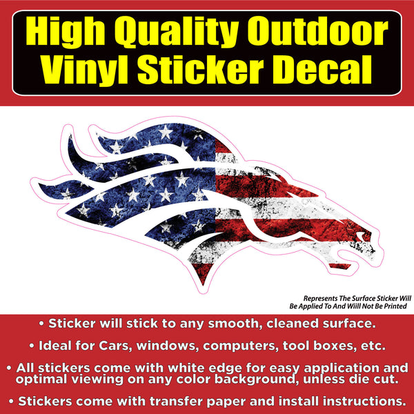 Denver Broncos American USA Flag Vinyl Car Window Laptop Bumper Sticker Decal