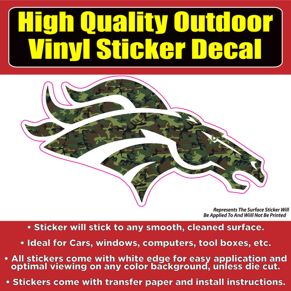 Denver Broncos Camouflage Vinyl Car Window Laptop Bumper Sticker Decal
