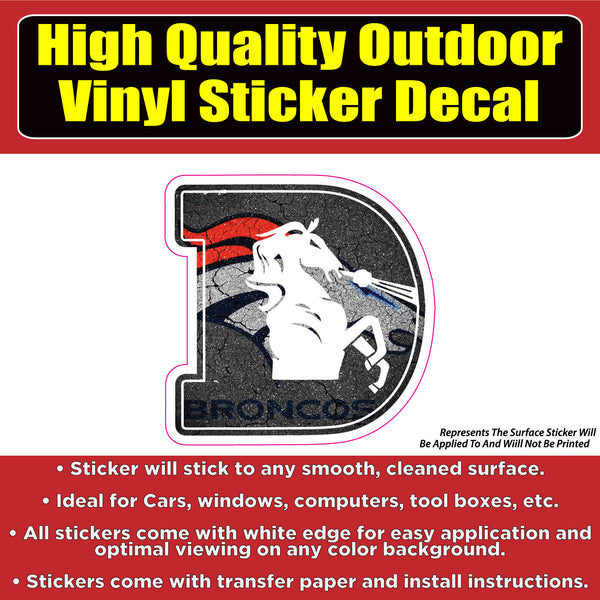 Broncos D horse Pavement Vinyl Car Window Laptop Bumper Sticker Decal