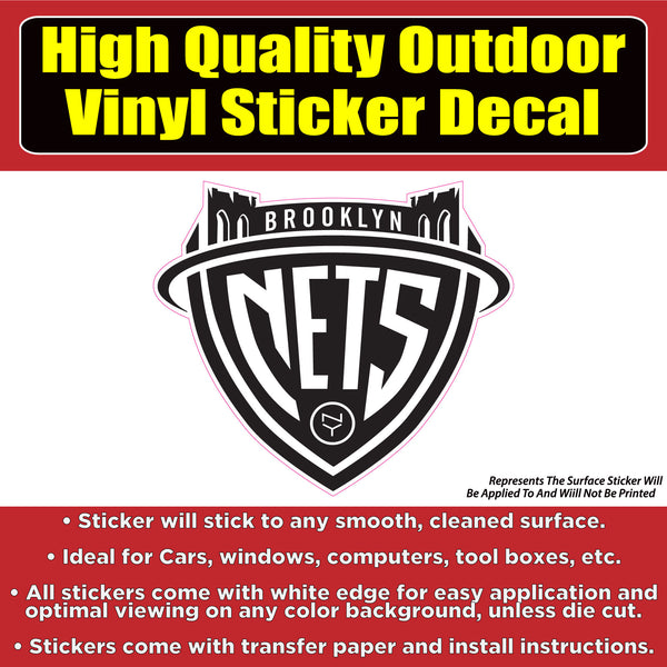 Brooklyn Nets Basketball Vinyl Car Window Laptop Bumper Sticker Decal