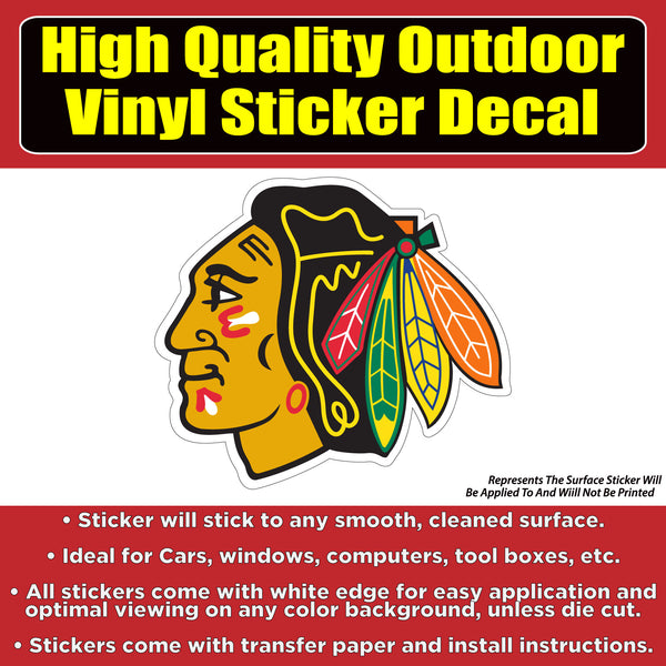 Chicago Blackhawks Hockey - Vinyl Car Window Laptop Sticker Decal