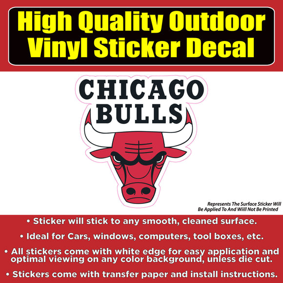 Chicago Bulls Basketball Vinyl Car Window Laptop Bumper Sticker Decal - Colorado Sticker