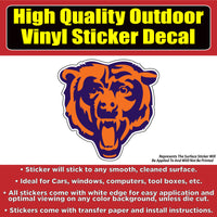 Chicago Bears Football Vinyl Car Bumper Window Sticker Decal