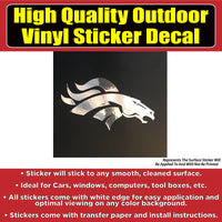 Denver Broncos Solid Chrome Design Car Window Vinyl Decal Sticker