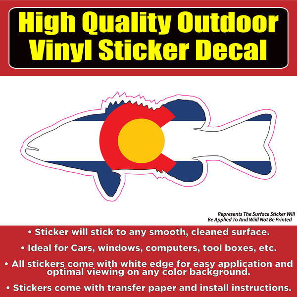 Colorado Flag Fish Vinyl Car Window Laptop Bumper Sticker decal