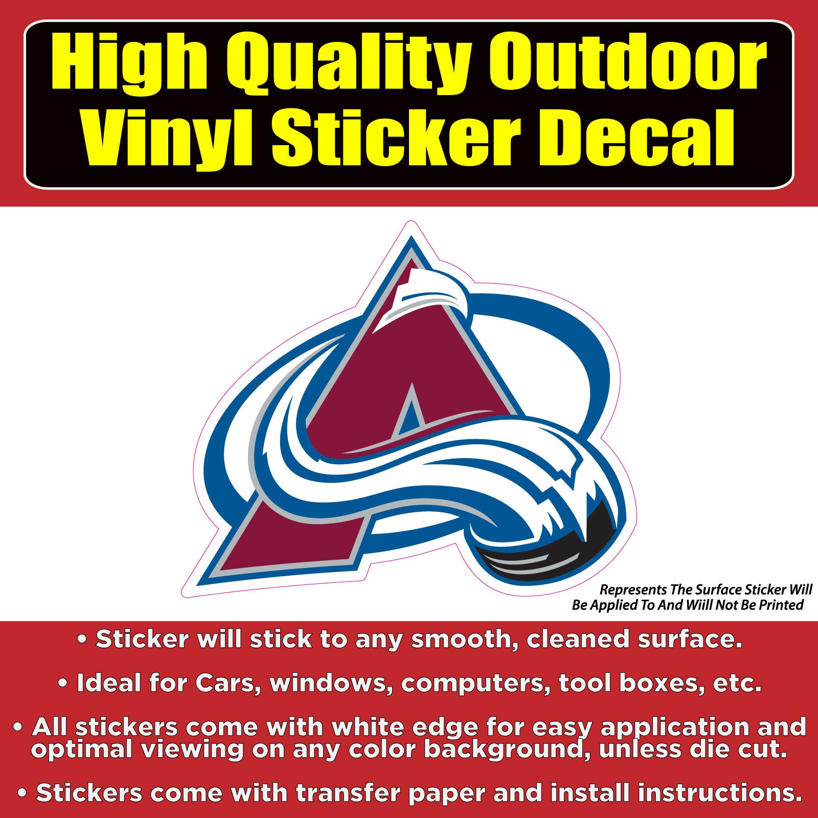 Colorado Avalanche-NHL Hockey Vinyl Car Window Bumper Laptop sticker decal
