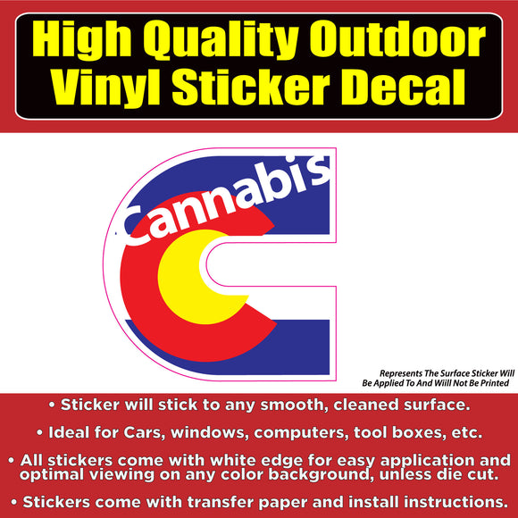 Cannabis Colorado Flag Vinyl Car Window Laptop Bumper Sticker decal - Colorado Sticker