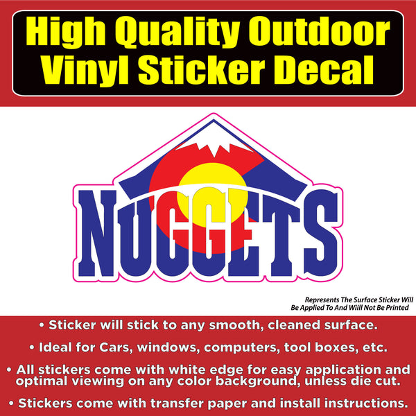 Denver Nuggets Colorado Flag Design Vinyl Car Window Laptop Bumper Sticker Decal