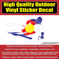 Skier Colorado Flag Vinyl Car Window Laptop Bumper Sticker Decal