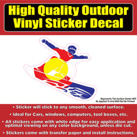 Snow Boarder Colorado Flag Vinyl Car Window Laptop Bumper Sticker Decal