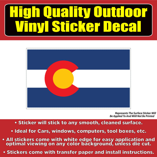 Colorado State Flag Vinyl Car Window Laptop Bumper Sticker decal