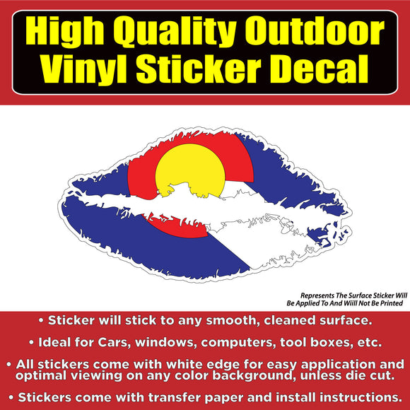 Colorado Flag Lips Vinyl Car Window Laptop Bumper Sticker decal - Colorado Sticker