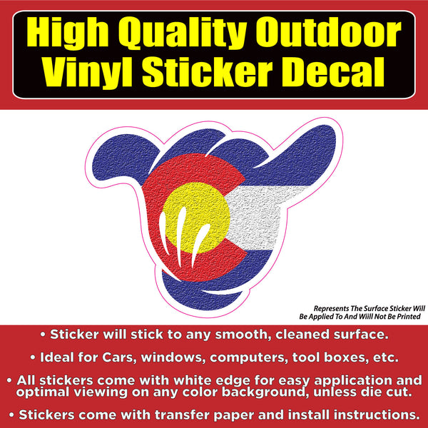 Shaka Hand Colorado Flag Vinyl Car Window Laptop Bumper Sticker Decal