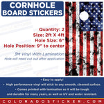 American Flag Cornhole Board Set of 2 Full Coverage Vinyl Decal Sticker Wrap - Colorado Sticker