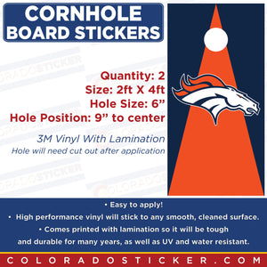 Denver Broncos Cornhole Board Set of 2 Full Coverage Vinyl Decal Sticker Wrap - Colorado Sticker