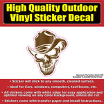 Cowboy Skull Vinyl Car Window Laptop Bumper Sticker Decal
