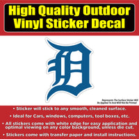 Detroit Tigers Baseball Vinyl Car Window Laptop Bumper Sticker Decal