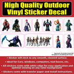 Fortnight Characters Sticker Pack Vinyl Car Window Laptop Bumper Sticker Decal