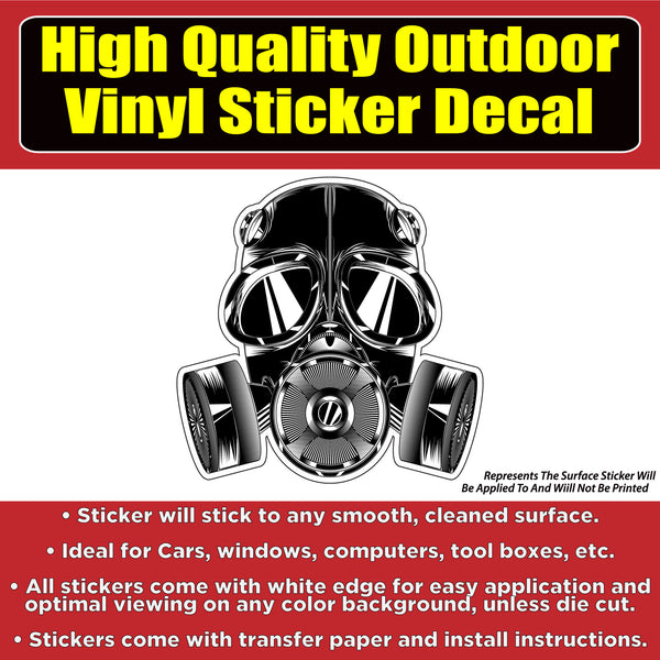 Gas Mask Vinyl Car Window Laptop Bumper Sticker Decal
