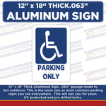 "Handicap Parking Only Metal Sign- Handicap Parking 12"" x 18"" Sign"