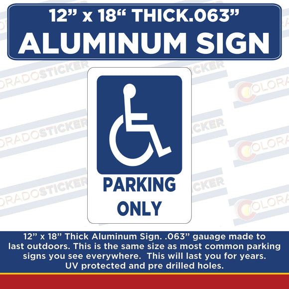 Handicap Parking Only Metal Sign- Handicap Parking 8.5 x 11