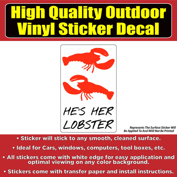 """He's Her Lobster"" FRIENDS TV Show Vinyl Window Laptop Bumper Sticker Decal"